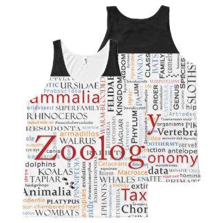 Mamíferos en tipografía camiseta de tirantes con estampado integral