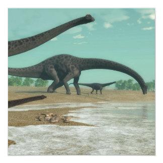 Manada de los dinosaurios del Diplodocus - 3D Invitación 13,3 Cm X 13,3cm