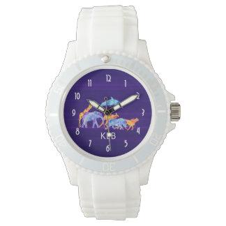 Manada del animal salvaje en monograma abstracto reloj