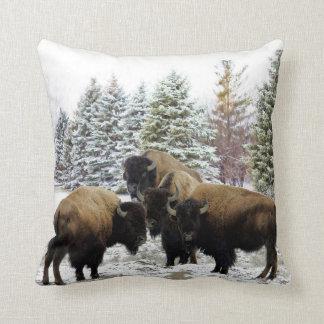 Manada del bisonte en almohada decorativa de la