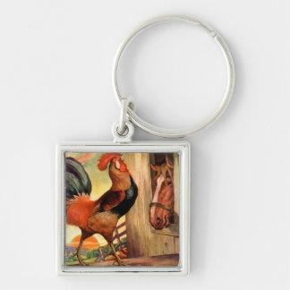 Mañana de la granja del gallo del caballo del arte llavero cuadrado plateado