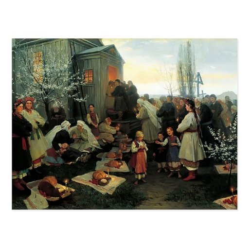 Mañana de oración de Mykola Pymonenko-Pascua, Malo Tarjeta Postal