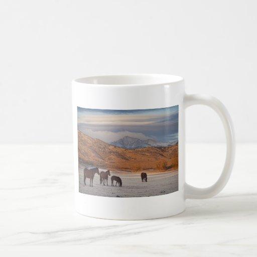 Mañana del país de la montaña rocosa taza de café