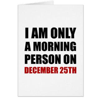 Mañana persona 25 de diciembre tarjeta