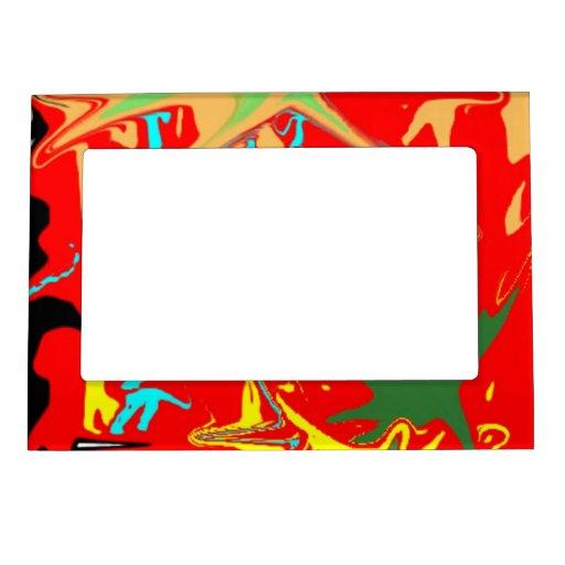 Mancha blanca /negra colorida inusual fea marcos magneticos para fotos