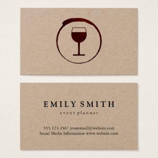Mancha elegante del vino rojo con la copa de vino tarjeta de negocios