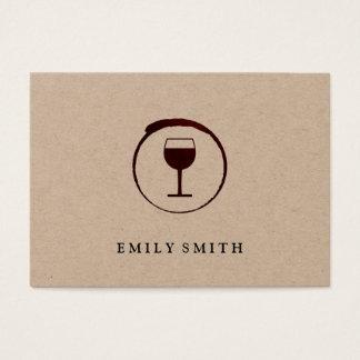 Mancha elegante del vino rojo con la copa de vino tarjeta de visita