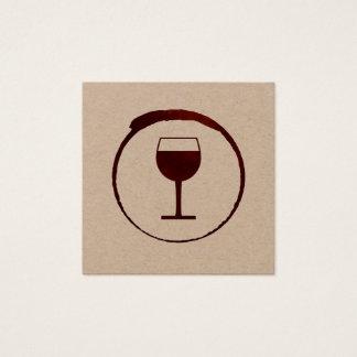 Mancha elegante del vino rojo con la copa de vino tarjeta de visita cuadrada