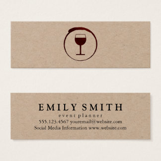 Mancha elegante del vino rojo con la copa de vino tarjeta de visita pequeña