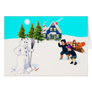 Manche el juego de la lucha de la bola de nieve tarjeta de felicitación