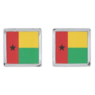 Mancuernas de la bandera de Guinea-Bissau Gemelos Plateados