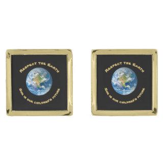 Mancuernas de la tierra del planeta del respecto gemelos dorados