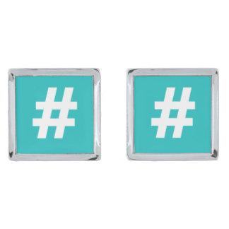 Mancuernas del azul de Hipstar Hashtag Gemelos Plateados