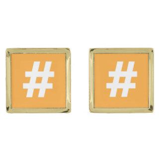 Mancuernas del naranja de Hipstar Hashtag Gemelos Dorados