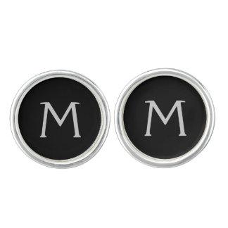 Mancuernas negras simples del monograma gemelos