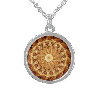 Mandala 001 en Brown ambarino Collar De Plata De Ley