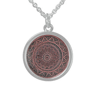 Mandala 010 en Brown Collar De Plata De Ley