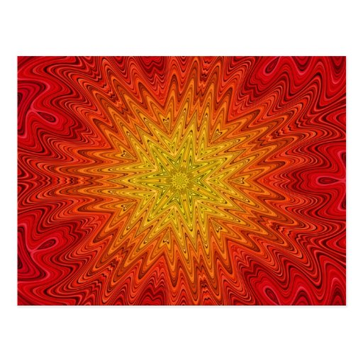 Mandala anaranjada y amarilla de Sun/de la estrell Postales
