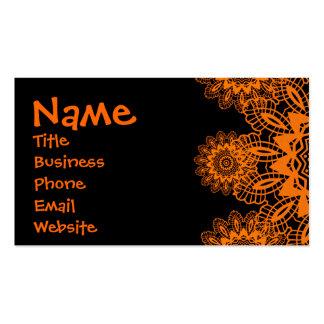 Mandala anaranjada y negra del copo de nieve del tarjetas de visita