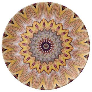 Mandala artística moderna bonita del girasol plato de porcelana