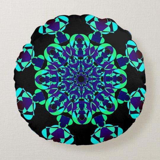 Mandala azul de neón cojín redondo