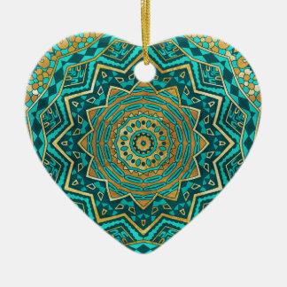 Mandala azul del topaz adorno navideño de cerámica en forma de corazón