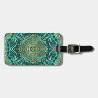 Mandala azul del topaz etiquetas para maletas