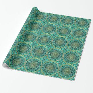 Mandala azul del topaz papel de regalo