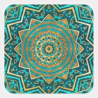 Mandala azul del topaz pegatina cuadrada