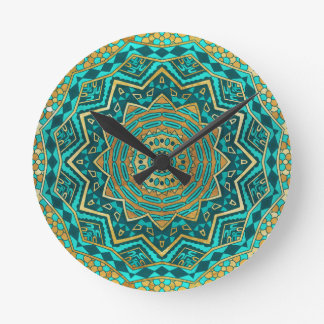 Mandala azul del topaz reloj redondo mediano