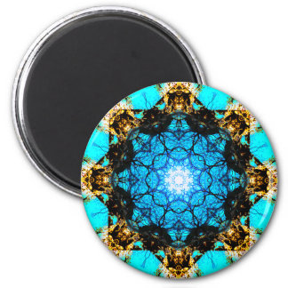 Mandala azul vibrante imán