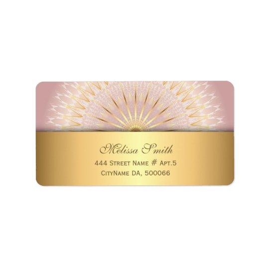 Mandala color de rosa del oro etiquetas de dirección