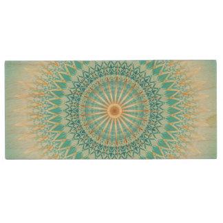 Mandala de Boho del oro de la turquesa Memoria USB De Madera