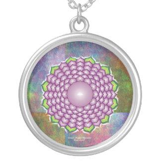 Mandala de Chakra de la corona Collar Plateado