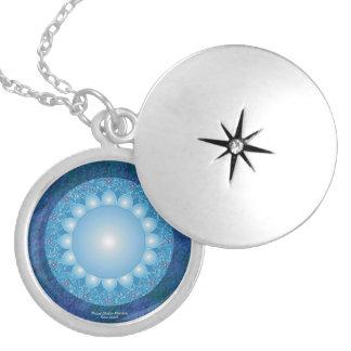 Mandala de Chakra de la garganta Collar Plateado