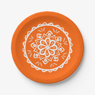 Mandala de la amapola plato de papel