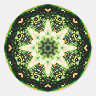 Mandala de la estrella de Gardian de la naturaleza Pegatina Redonda