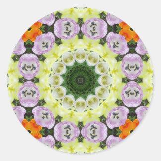 Mandala de la flor de los tulipanes, pegatina redonda