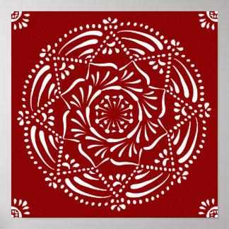 Mandala de la frambuesa póster