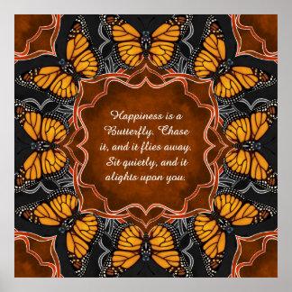 Mandala de la mariposa de monarca póster