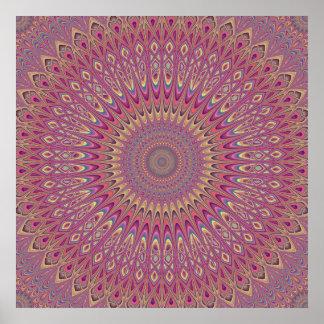 Mandala de la rejilla del Hippie Póster