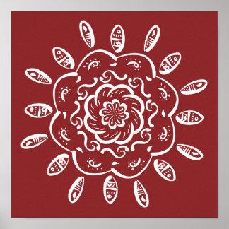 Mandala del arándano póster