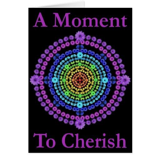 Mandala del arco iris con el poema de los momentos felicitacion