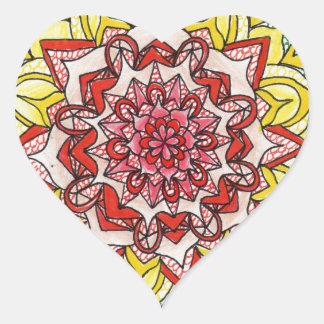 Mandala del arco iris pegatina en forma de corazón