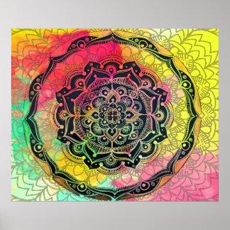 Mandala del arco iris póster