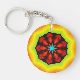 Mandala del caleidoscopio de la pimienta roja llavero