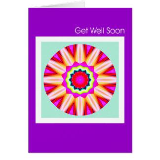 Mandala del fractal - consiga bien pronto tarjeta de felicitación