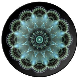 Mandala del fractal plato de porcelana