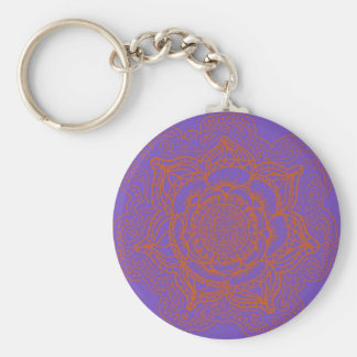 Mandala del naranja de la lavanda llavero redondo tipo chapa