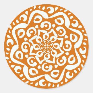 Mandala del pastel de calabaza pegatina redonda